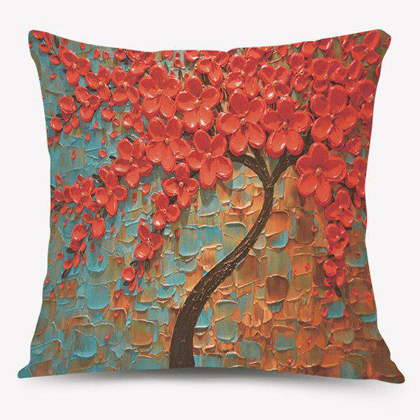 Oil Painting Tree of Life Sofa Cushion Pillow CaseHome<br><br><br>Color: RED