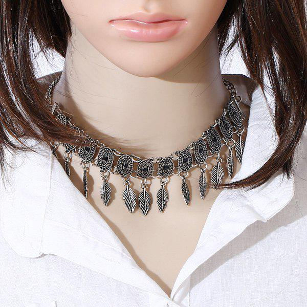 Alloy Oval Leaf Choker NecklaceJewelry<br><br><br>Color: SILVER