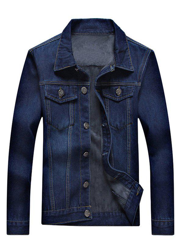 Button Up Pocket Front Flocking Denim Jacket - BLUE L
