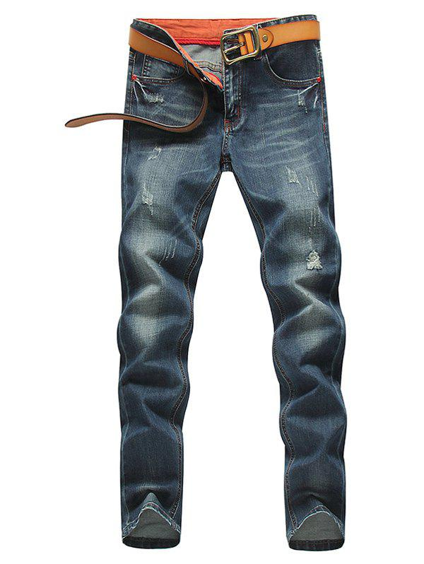 Zip Fly Distressed Jeans in Tapered Fit