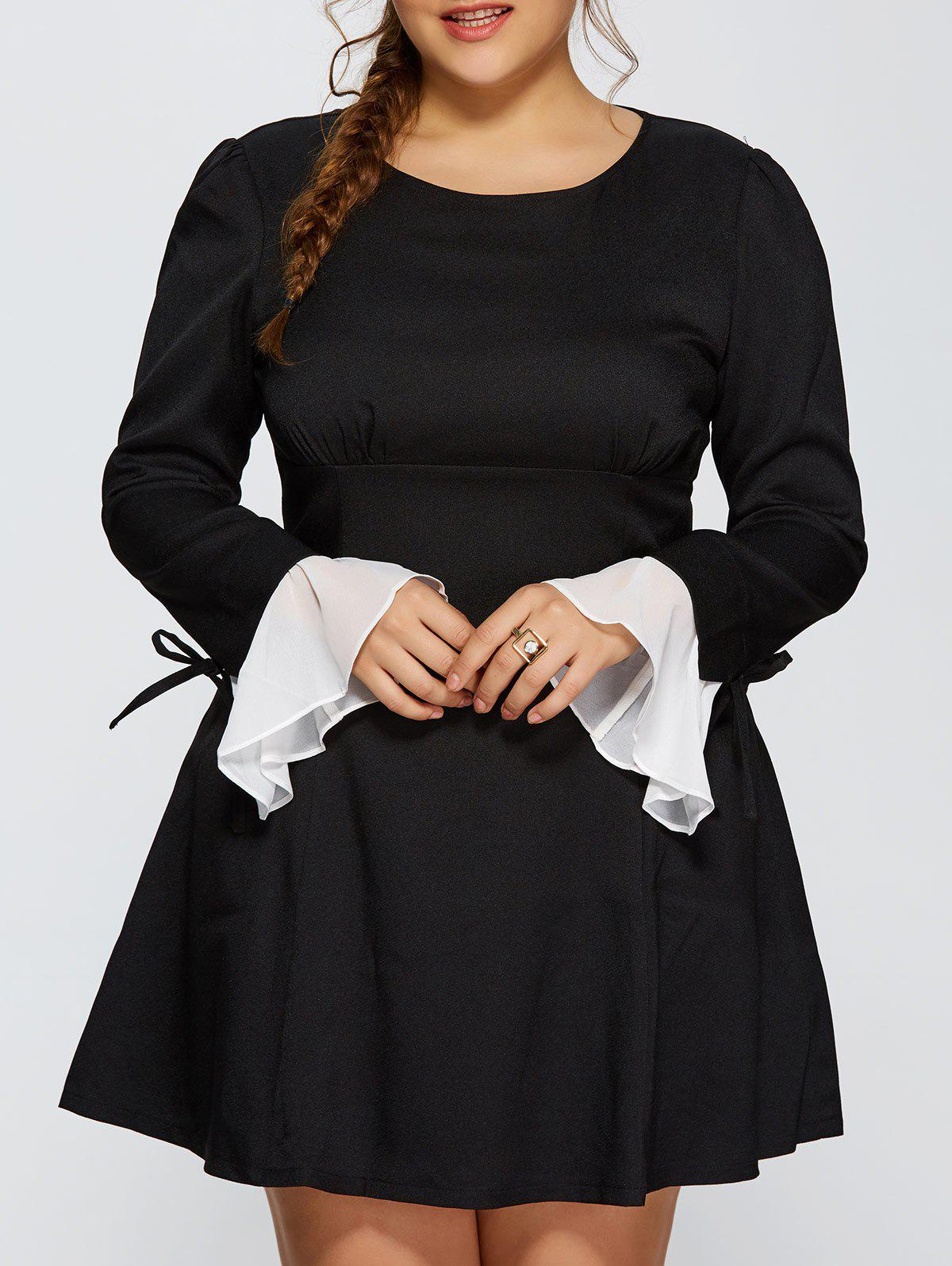 Plus Size Chiffon Cuff Insert Long Sleeve Empire Waist Skater Dress - BLACK 3XL