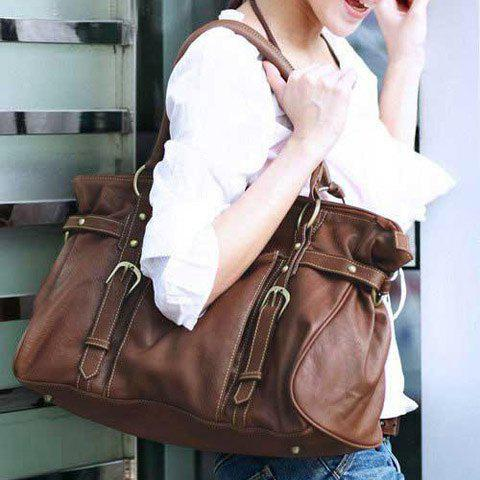 Stylish Buckle and Rivets Design Shoulder Bag For Women - COFFEE