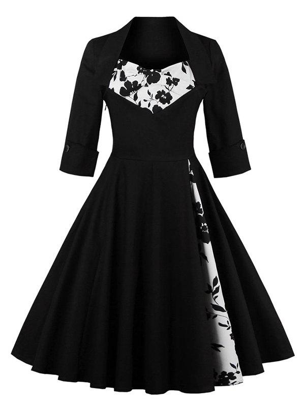 Knee Length Floral Flare Corset Dress - BLACK M