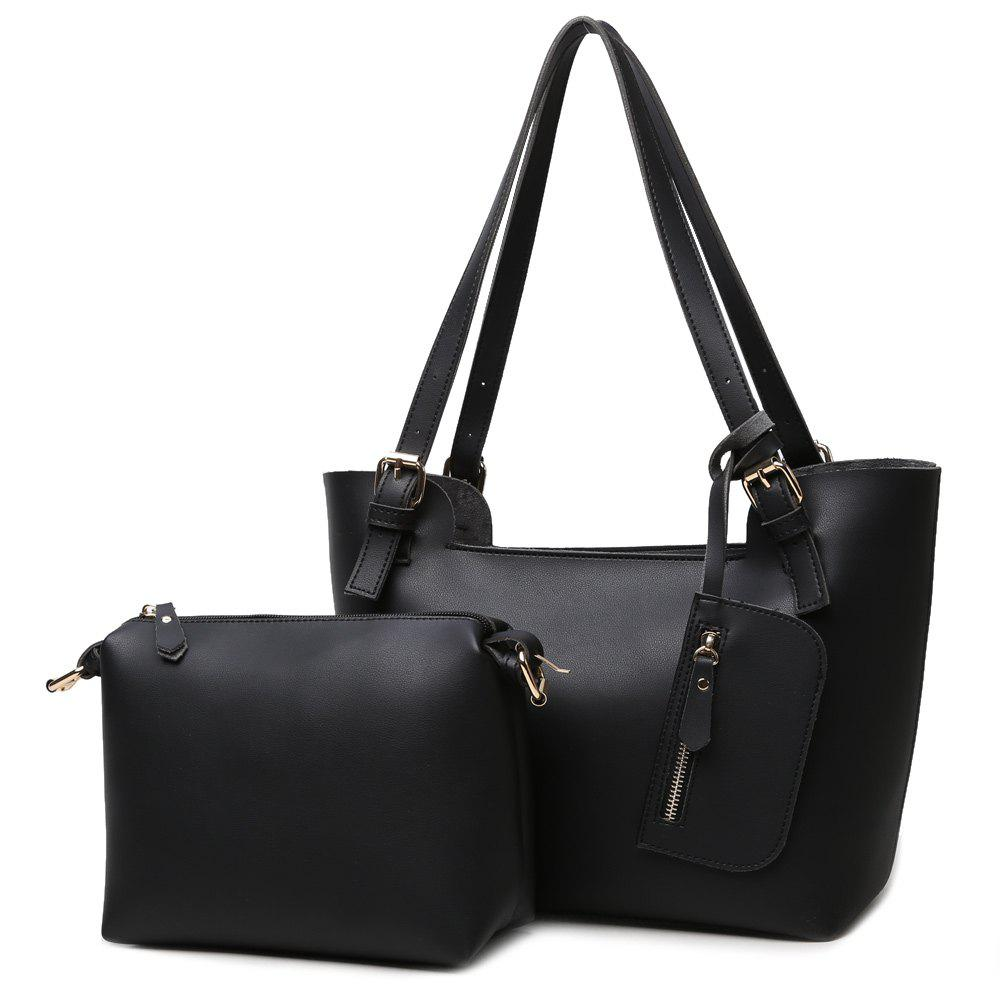 Concise PU Leather Buckles Shoulder Bag - BLACK