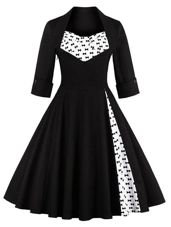 Bowknot Swing Dress - BLACK 4XL