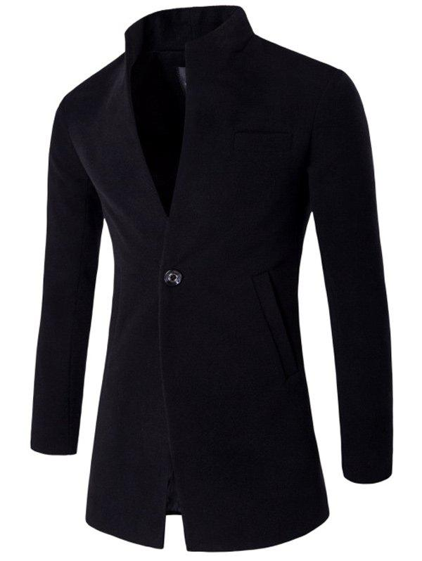 One Button Design Stand Collar Longline Woolen Coat - BLACK XL