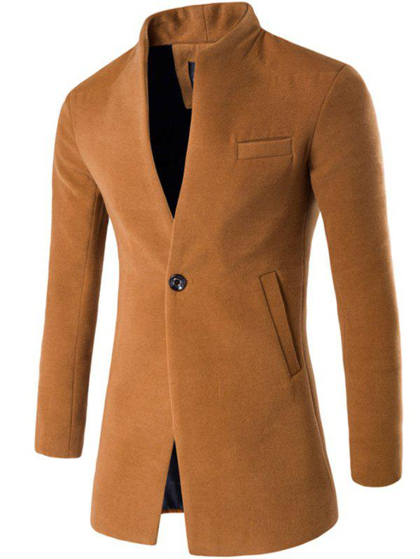 One Button Design Stand Collar Longline Woolen Coat - KHAKI 3XL