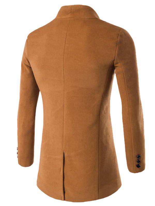 One Button Design Stand Collar Longline Woolen Coat - KHAKI XL