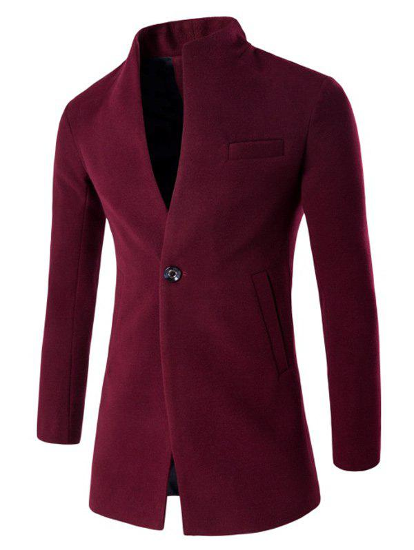 Buy One Button Design Stand Collar Lengthen Woolen Coat WINE RED