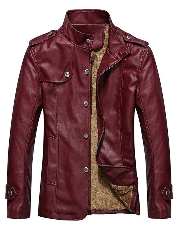 Button Up Epaulet Design PU Leather Jacket - DARK RED L