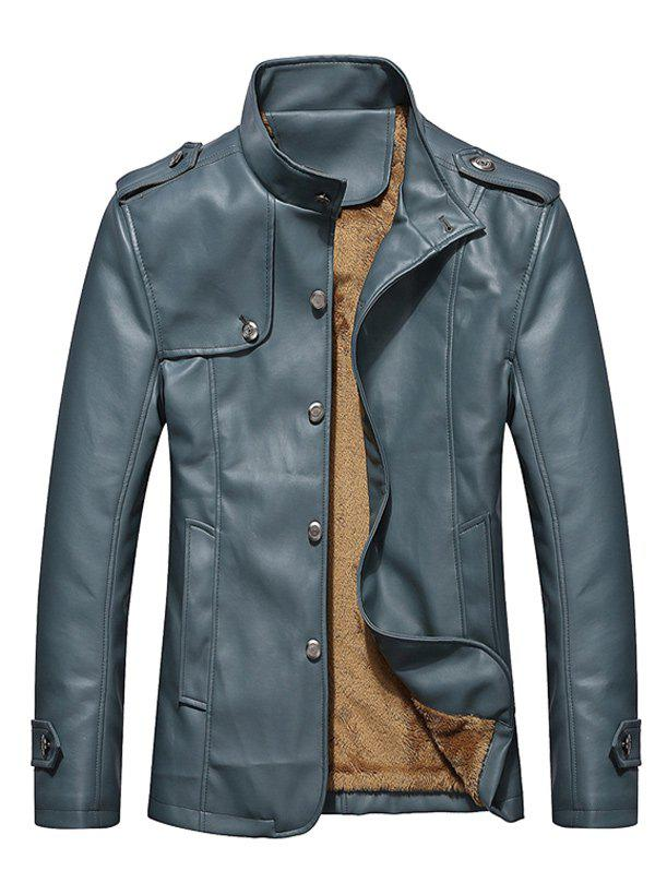 Button Up Epaulet Design PU Leather Jacket - STONE BLUE L