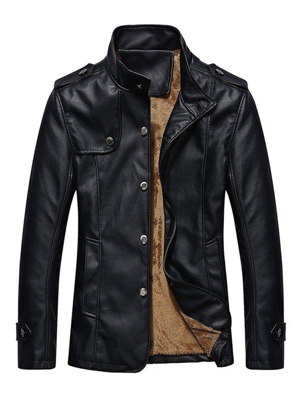 Button Up Epaulet Design PU Leather Jacket - BLACK 2XL