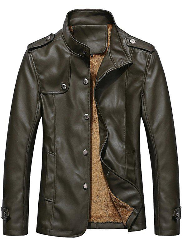 Button Up Epaulet Design PU Leather Jacket - ARMY GREEN 2XL