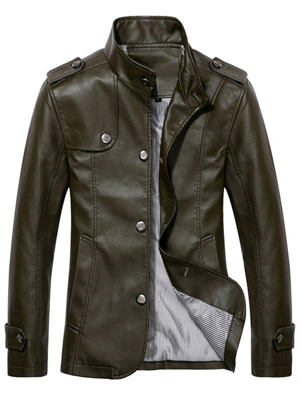 Stand Collar Epaulet PU Leather Jacket - ARMY GREEN 3XL