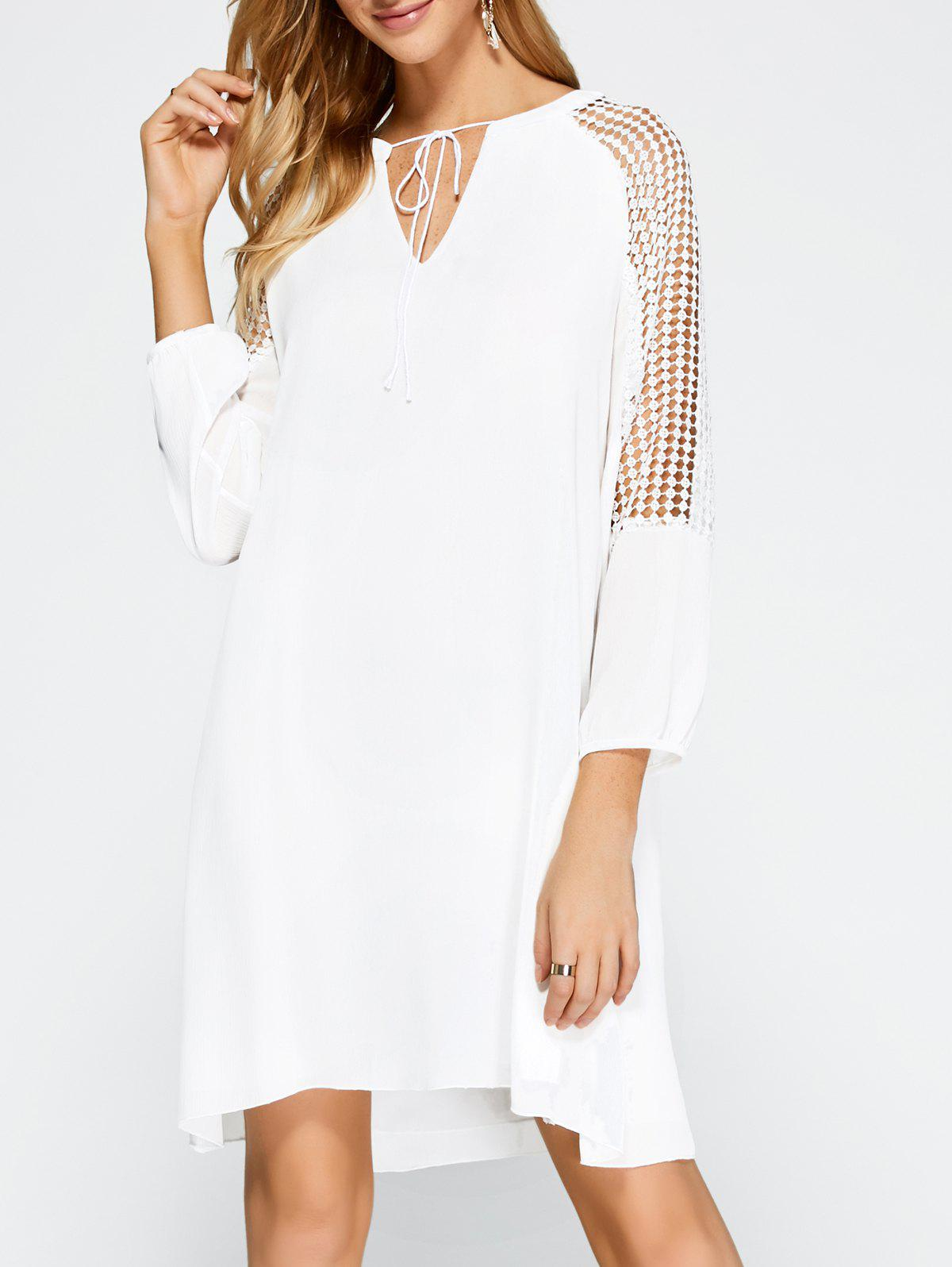 Casual Openwork Lace Insert Dress - WHITE S