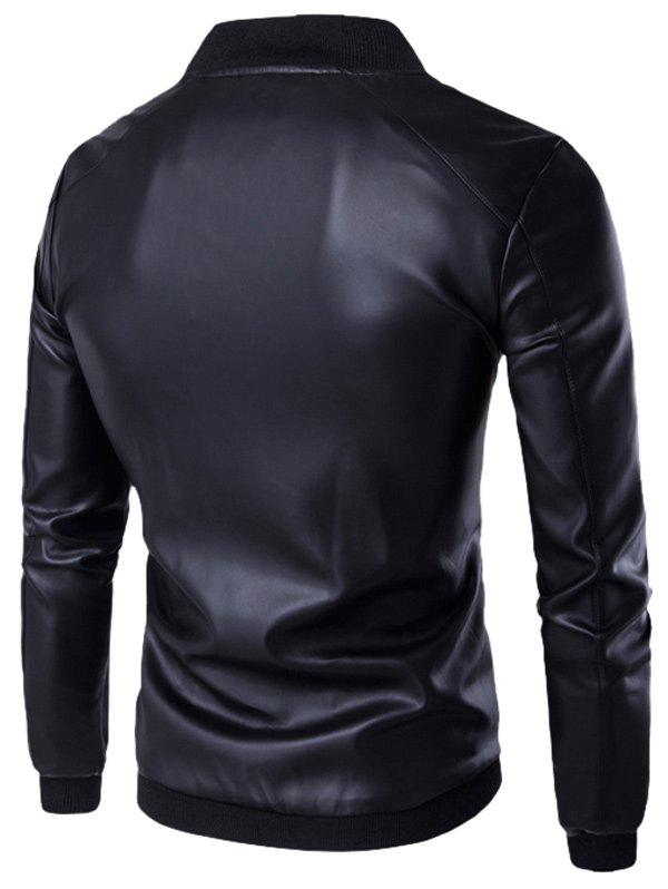 Stand Collar PU Leather Zip Up Jacket - BLACK XL