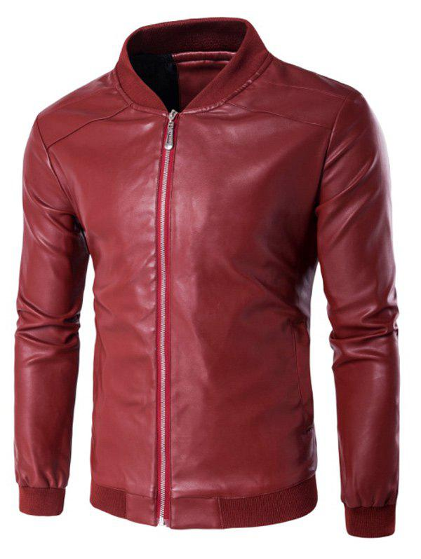 Stand Collar PU Leather Zip Up Jacket pu leather and corduroy spliced zip up down jacket