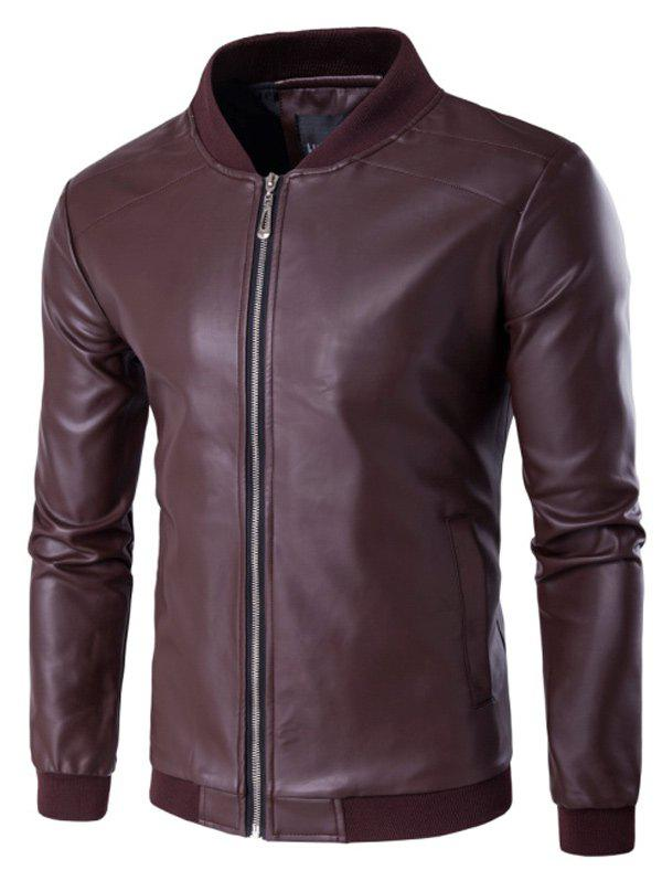 Stand Collar PU Leather Zip Up Jacket - WINE RED 2XL