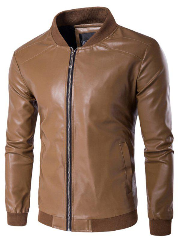 Stand Collar PU Leather Zip Up Jacket - DUN M