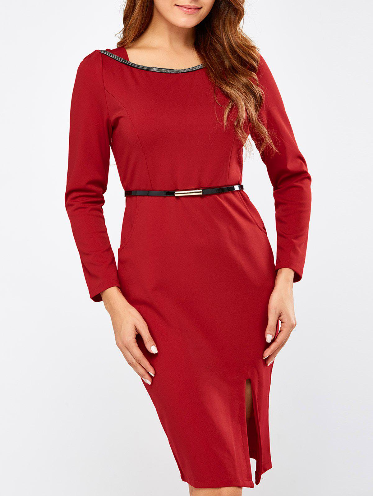 Side Slit Belted Knee Length Dress