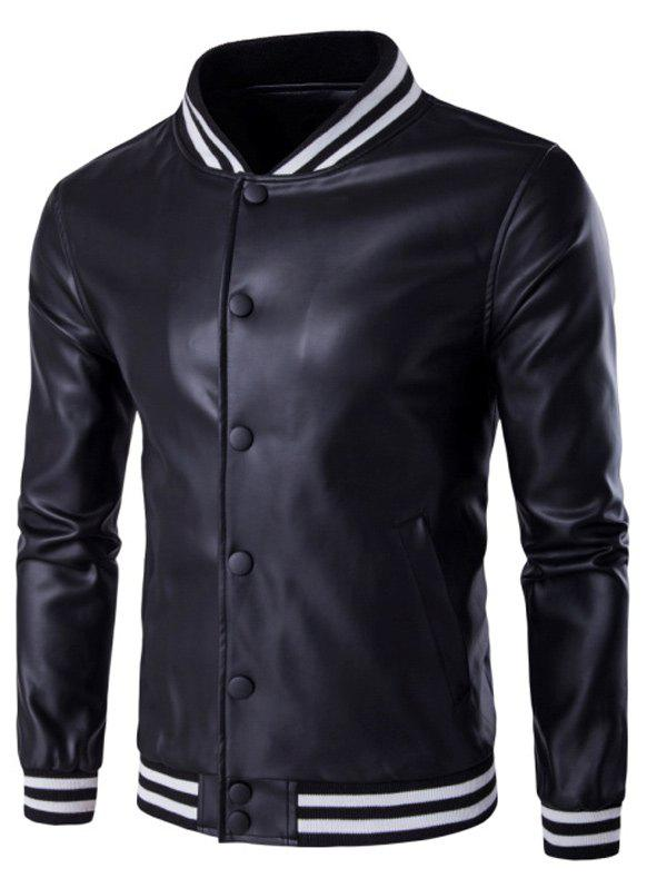 PU Leather Stand Collar Stripe Rib Splicing Jacket - BLACK M