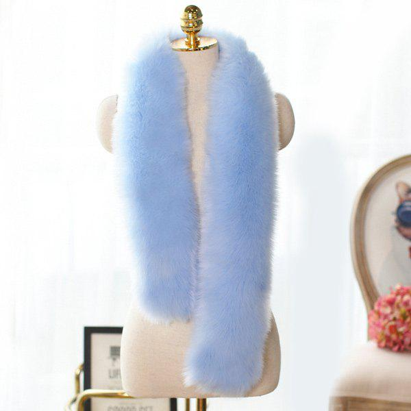Winter Faux Fur Scarf - PINKISH BLUE