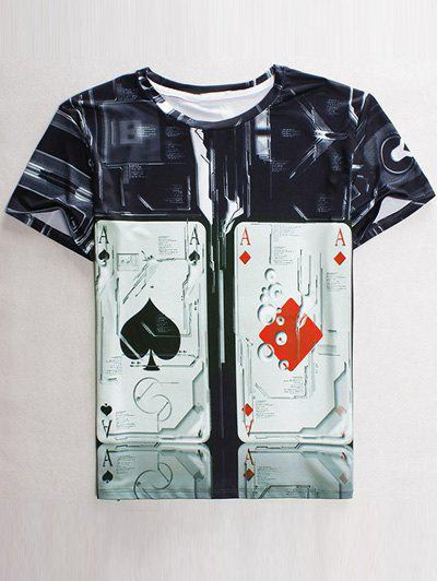 Funny 3D Playing Card Print Round Neck Short Sleeves Men's T-Shirt - BLACK L