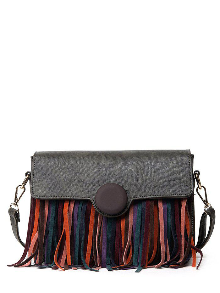 Covered Closure Textured Leather Fringe Crossbody Bag - ARMY GREEN