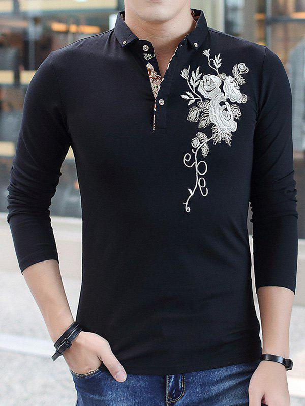 Floral Embroidered Long Sleeve Polo T-Shirt - BLACK L