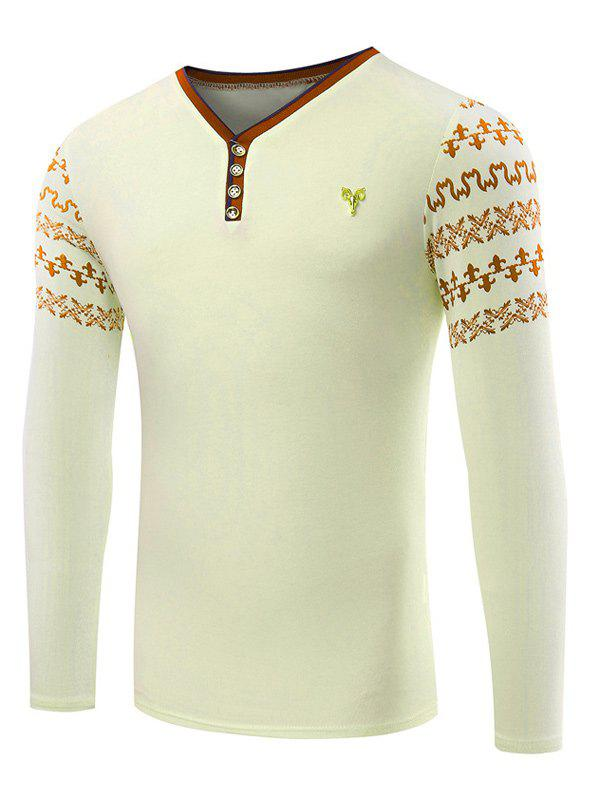 Abstract Printed Sleeve Metallic Bull Embellished TeeMen<br><br><br>Size: XL<br>Color: BEIGE