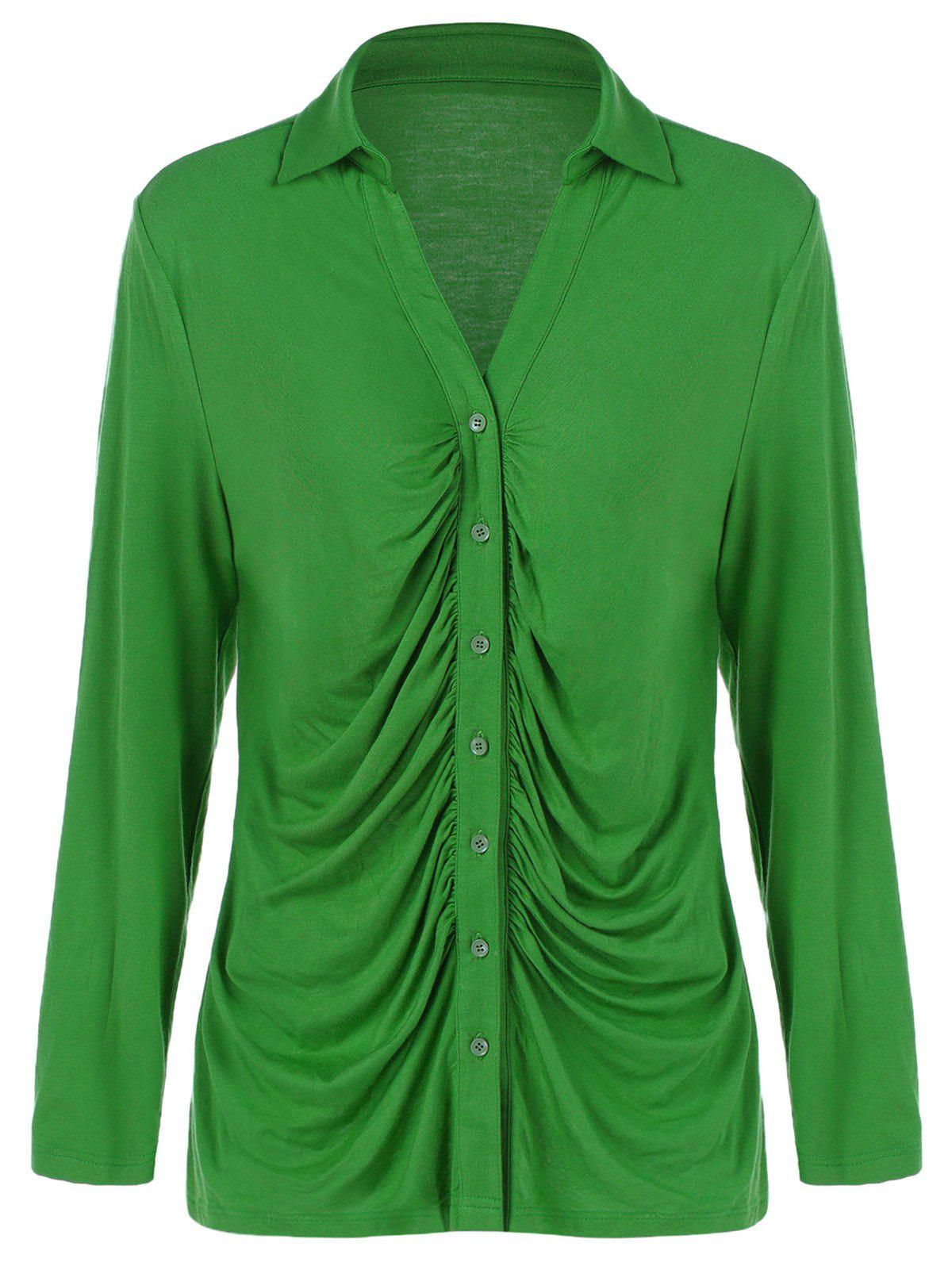 Plus size ruched shirt apple green xl in plus size tops for Apple green dress shirt