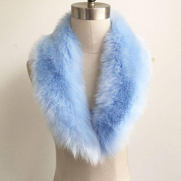 Winter Faux Fur Collar Scarf - PINKISH BLUE