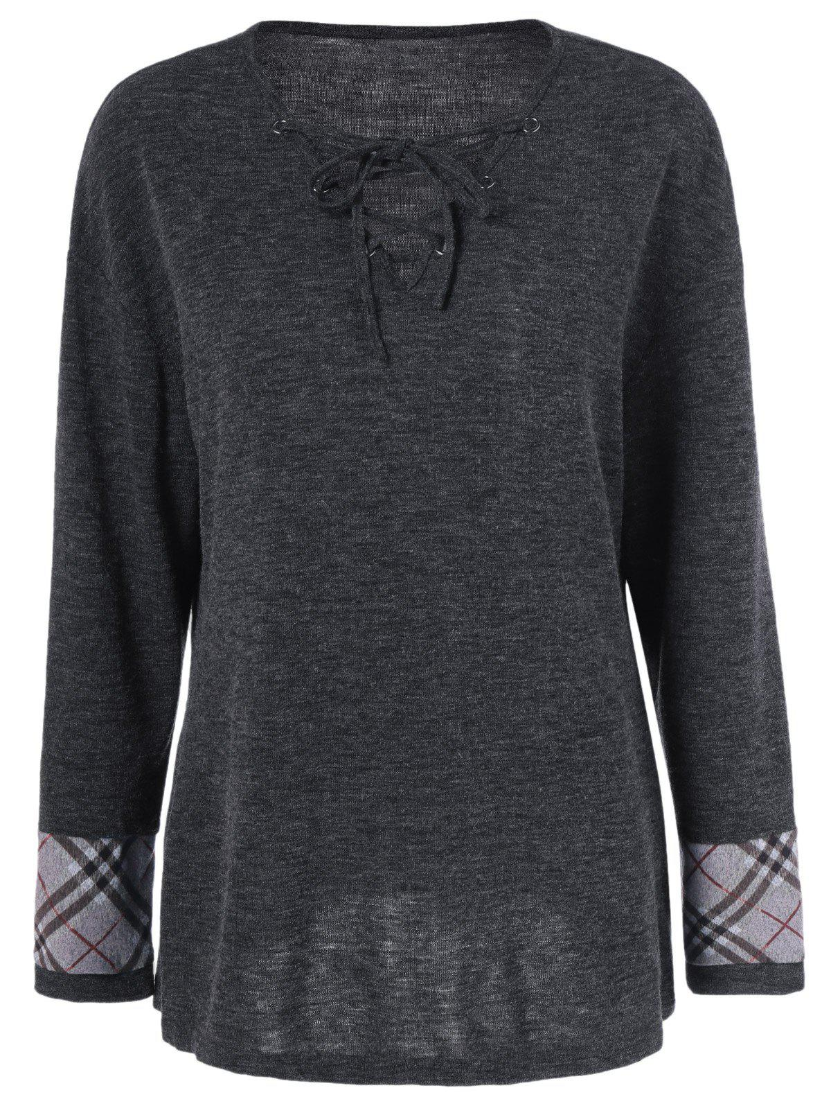 Plus Size Plaid Trim Lace-Up Tee - BLACK GREY XL