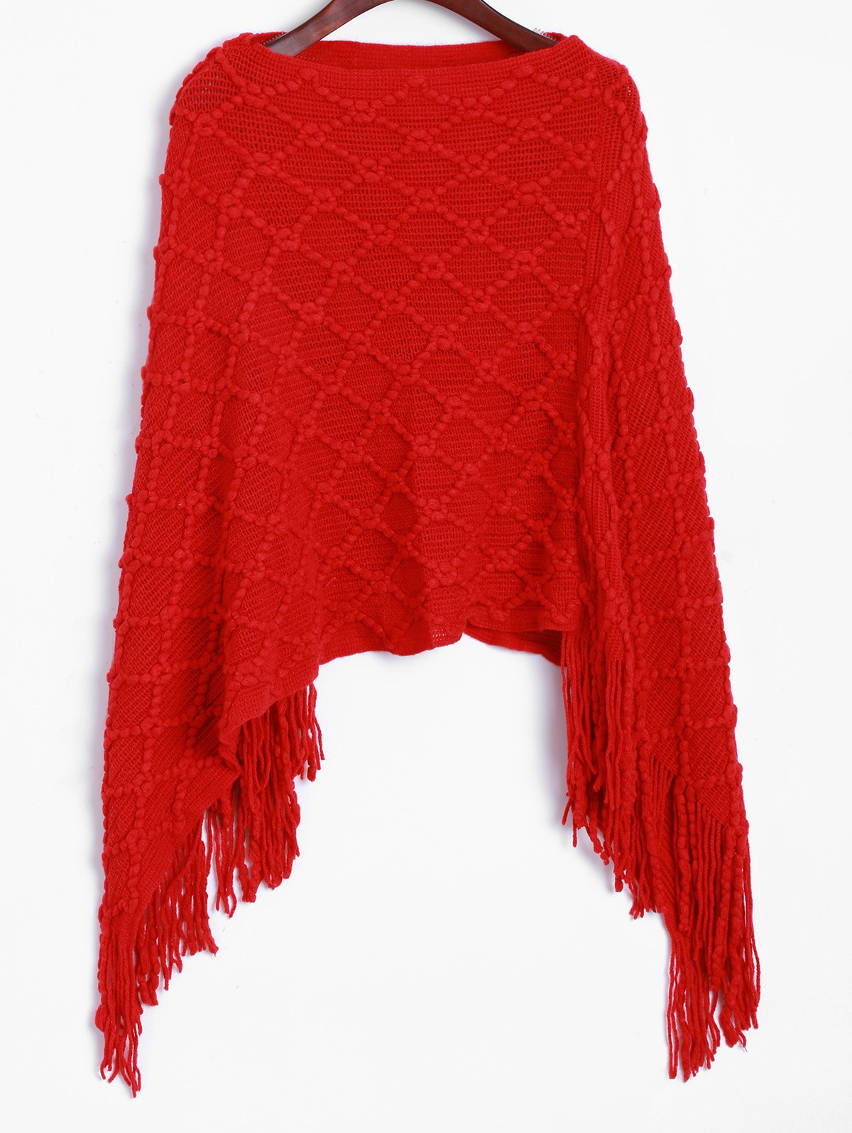 Asymmetrical Fringed Poncho SweaterWomen<br><br><br>Size: ONE SIZE<br>Color: RED