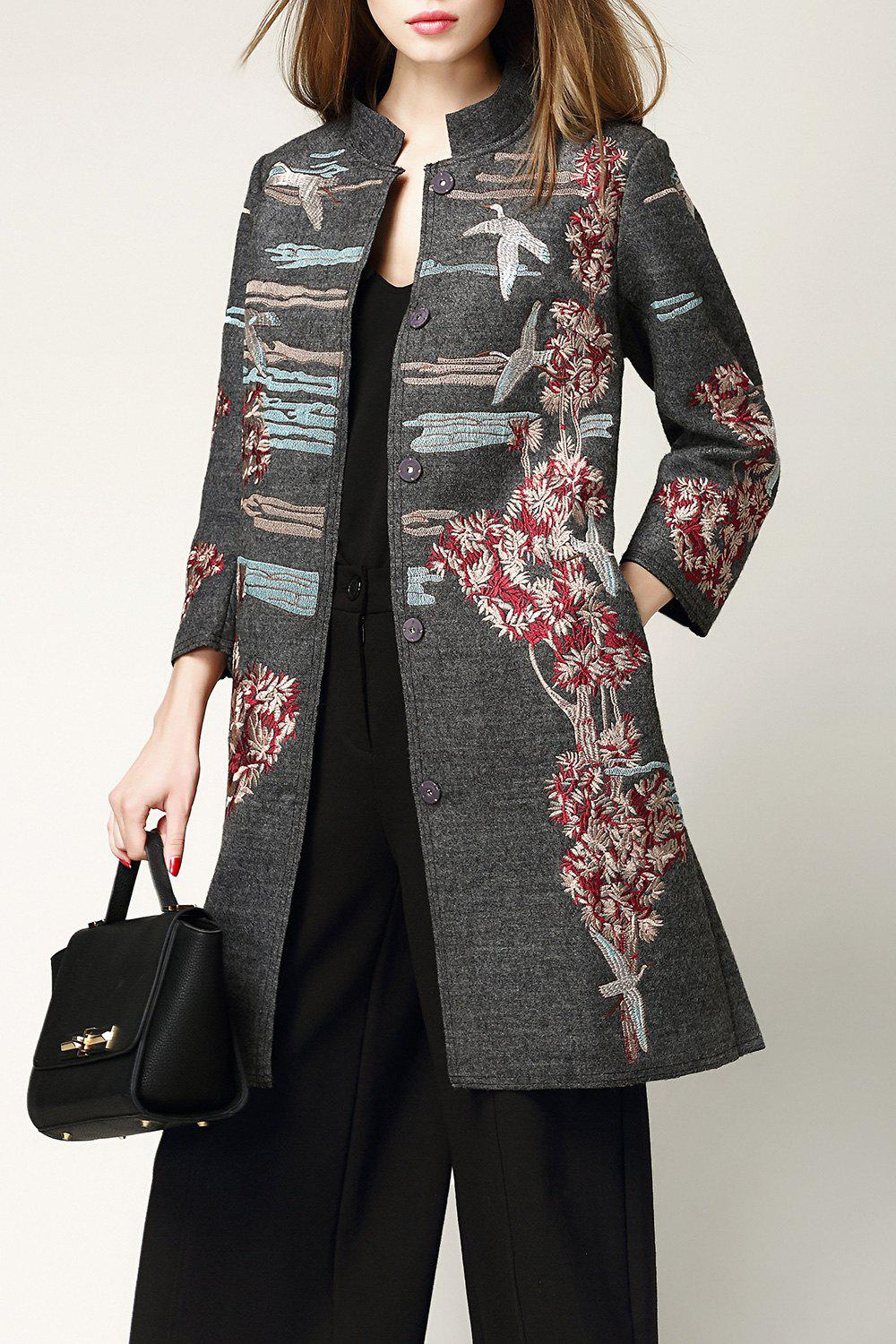Wool Blend Embroidered Coat - GRAY M