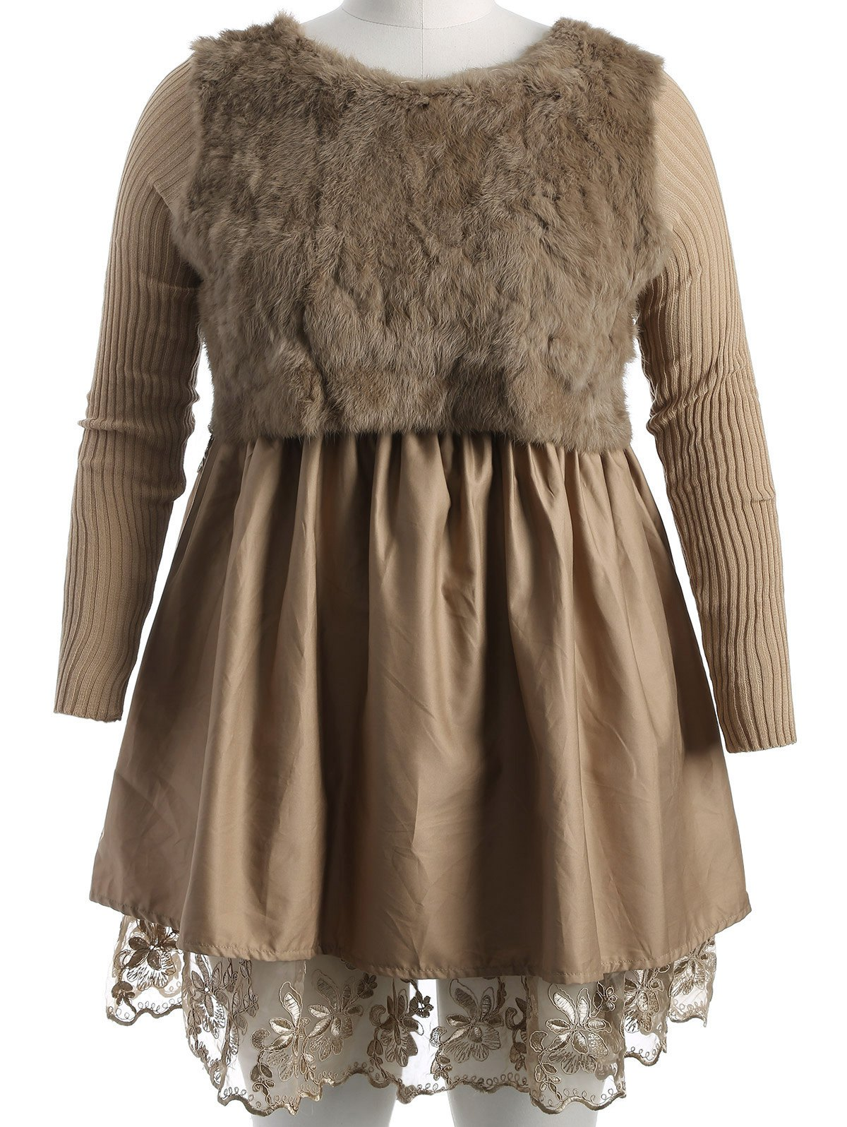 Plus Size Lace Splicing Faux Fur Knitted Dress - CAMEL XL