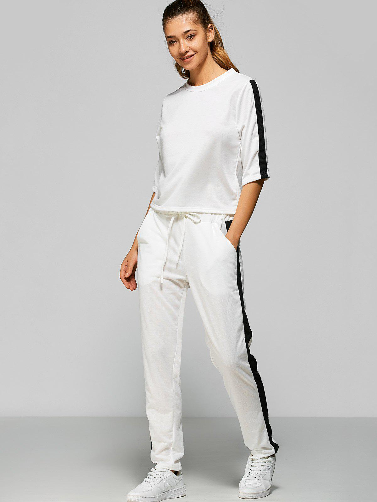 Contrast Drawstring Pocket Design Gym Suit - WHITE M