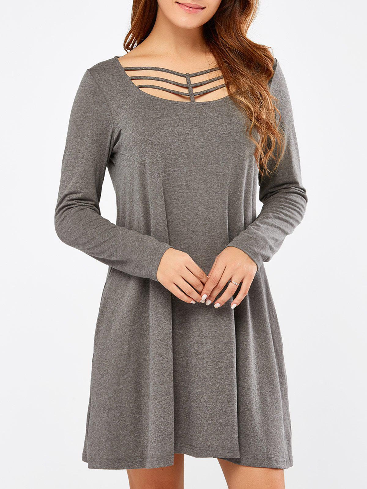 Long Sleeve Strappy A Line Casual Short Dress long sleeve cut out short a line dress