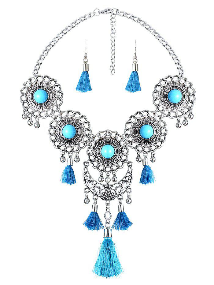 Medallion Fringed Statement Necklace Set - LAKE BLUE
