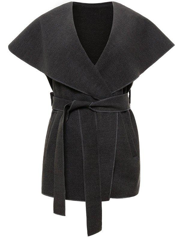 Shawl Collar Belted Wrap Waistcoat - DEEP GRAY M