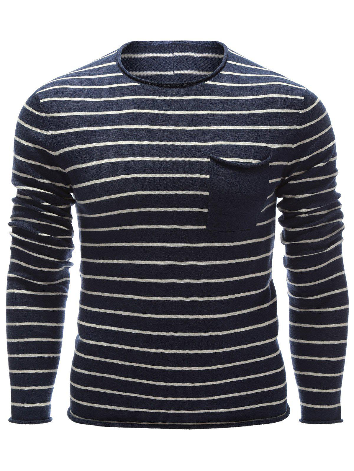Chest Pocket Round Neck Striped Sweater round neck striped ripped sweater