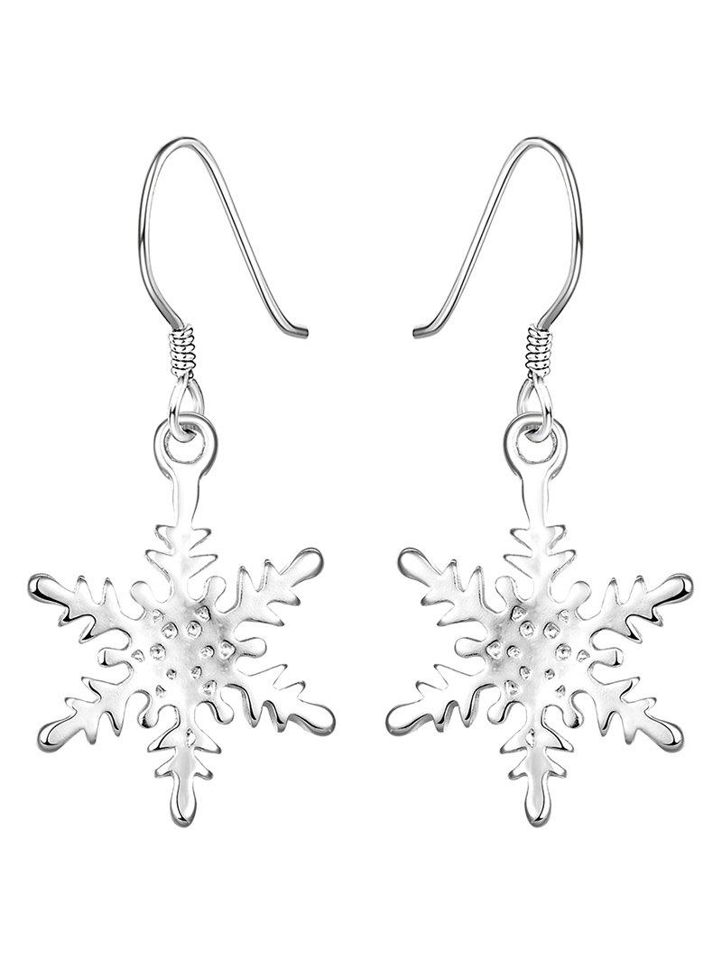 Rhinestoned Snowflake Drop Earrings - SILVER