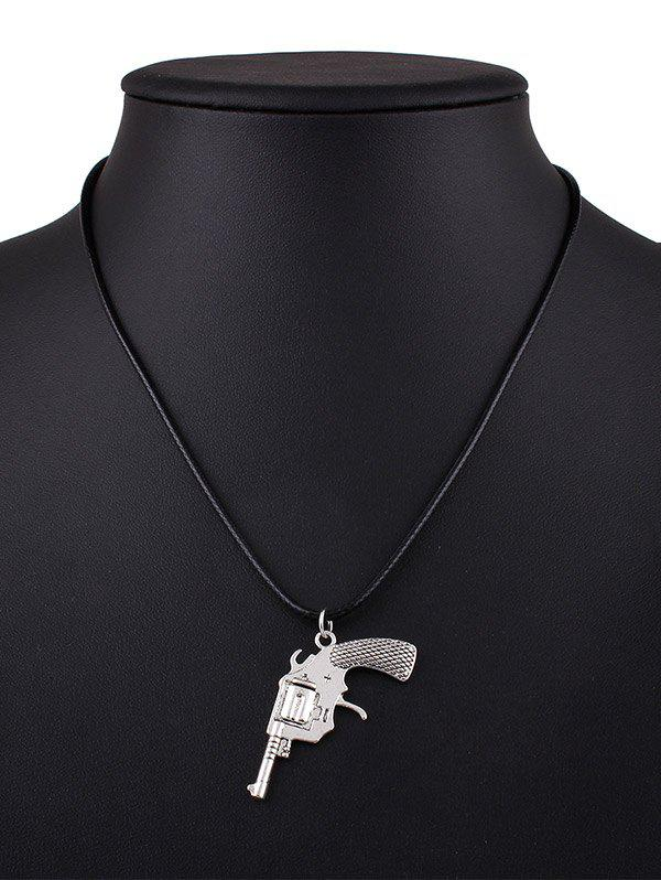 Pistol Faux Leather Pendant Necklace - BLACK