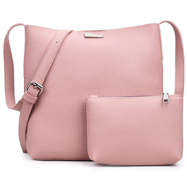 Metal Crossbody Clutch Bag SetBags<br><br><br>Color: PINK