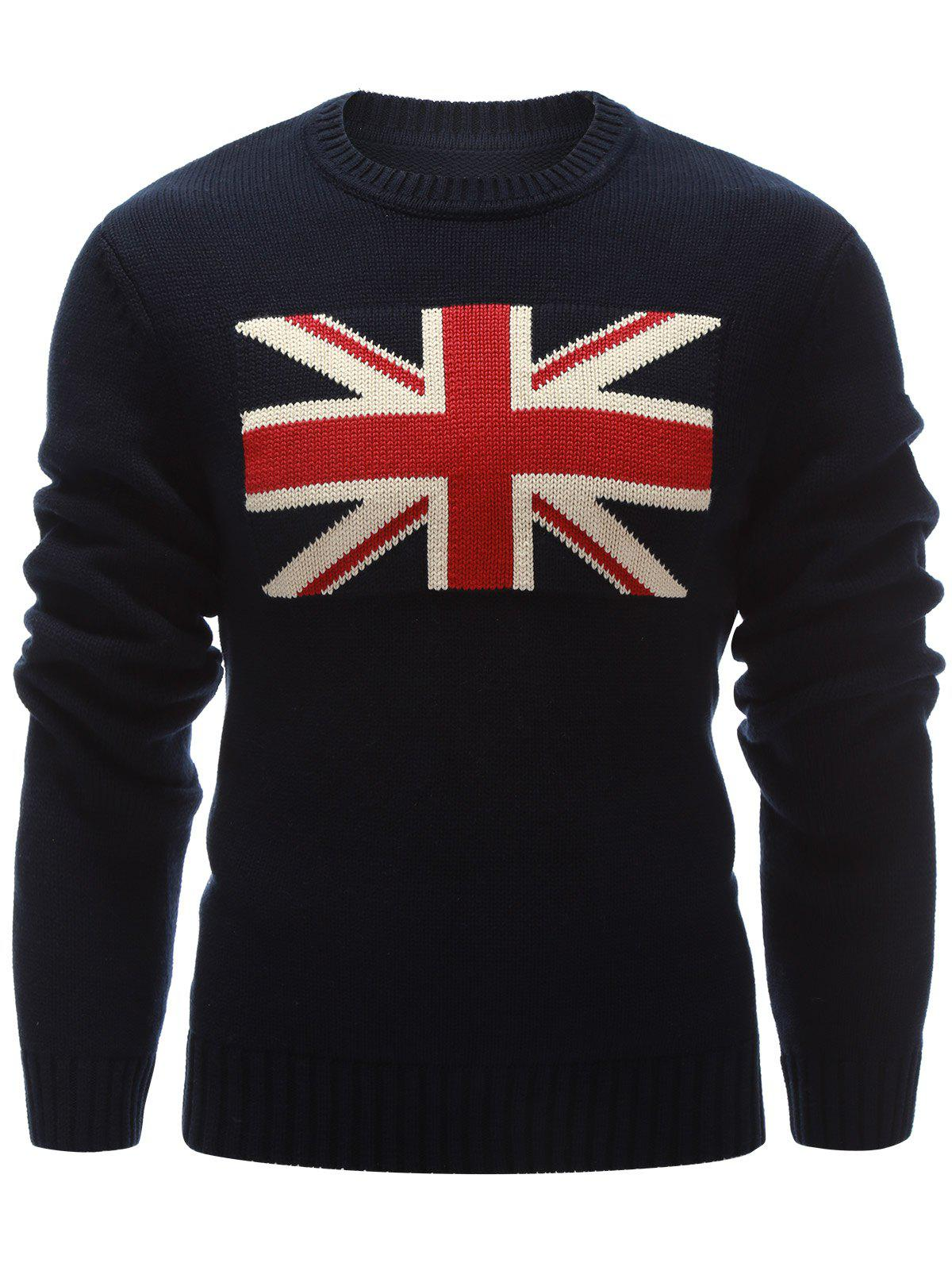 Flat Knitted Flag Pattern Crew Neck Sweater