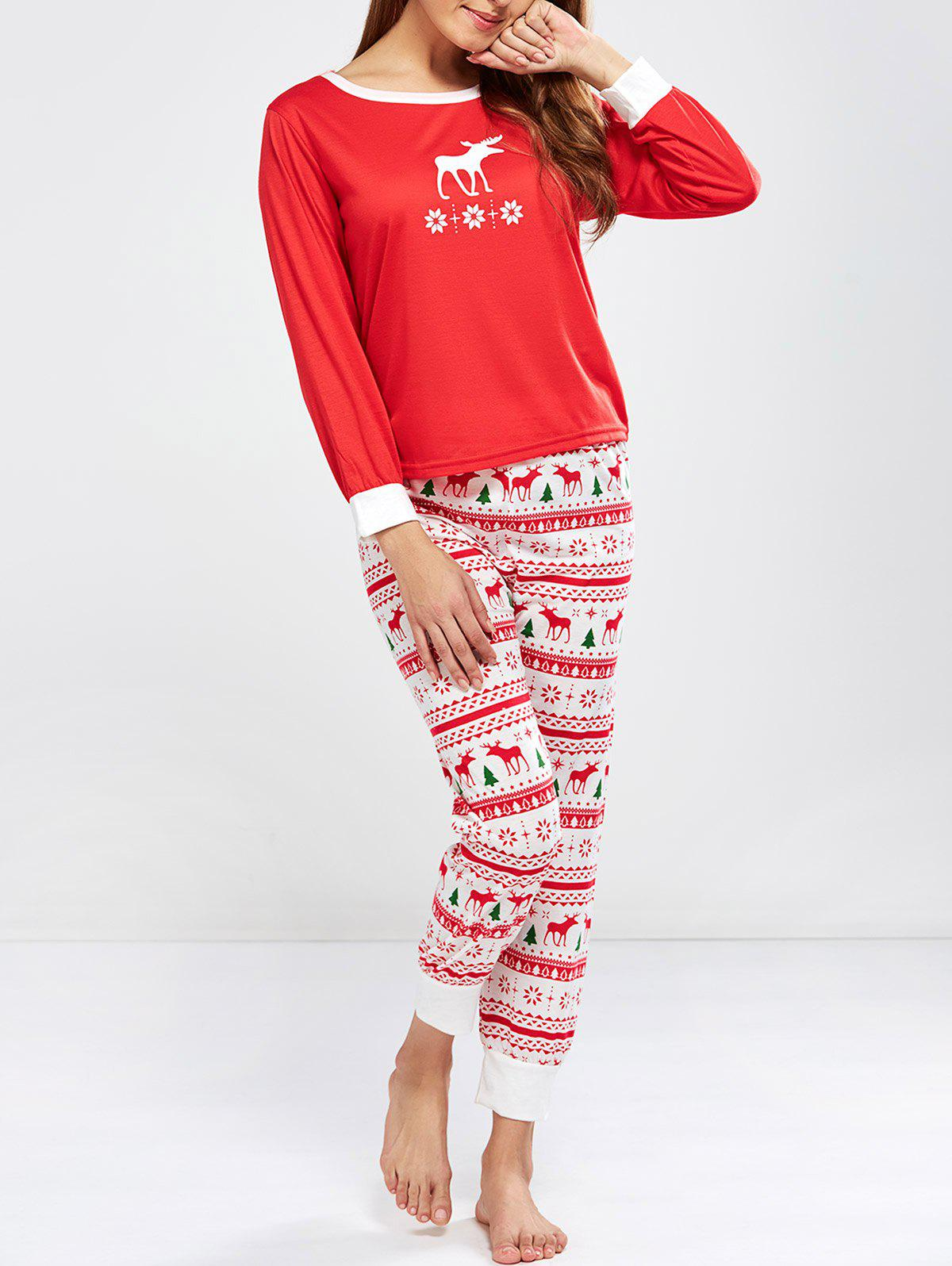 Christmas Deer Print Pajamas Sleepwear Sets christmas deer print pajamas sleepwear sets