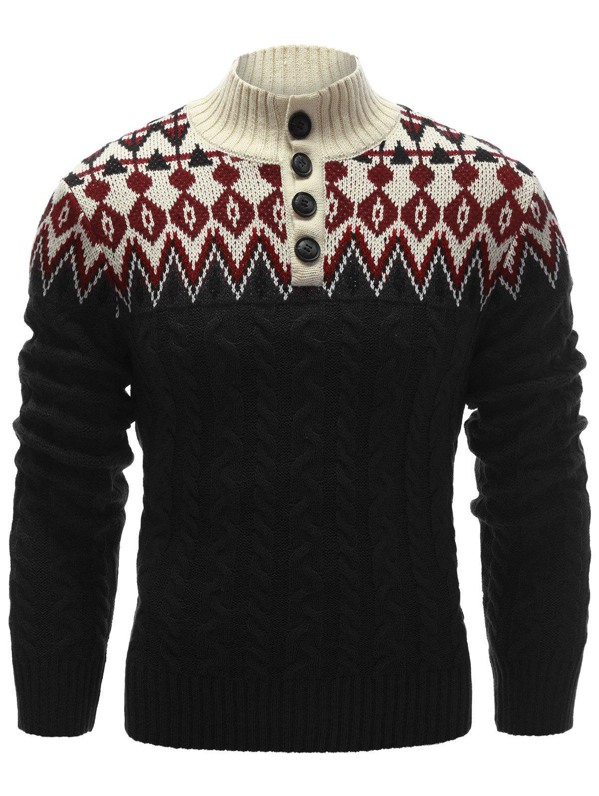 Button Up Zigzag Pattern Cable Knit Sweater - BLACK M