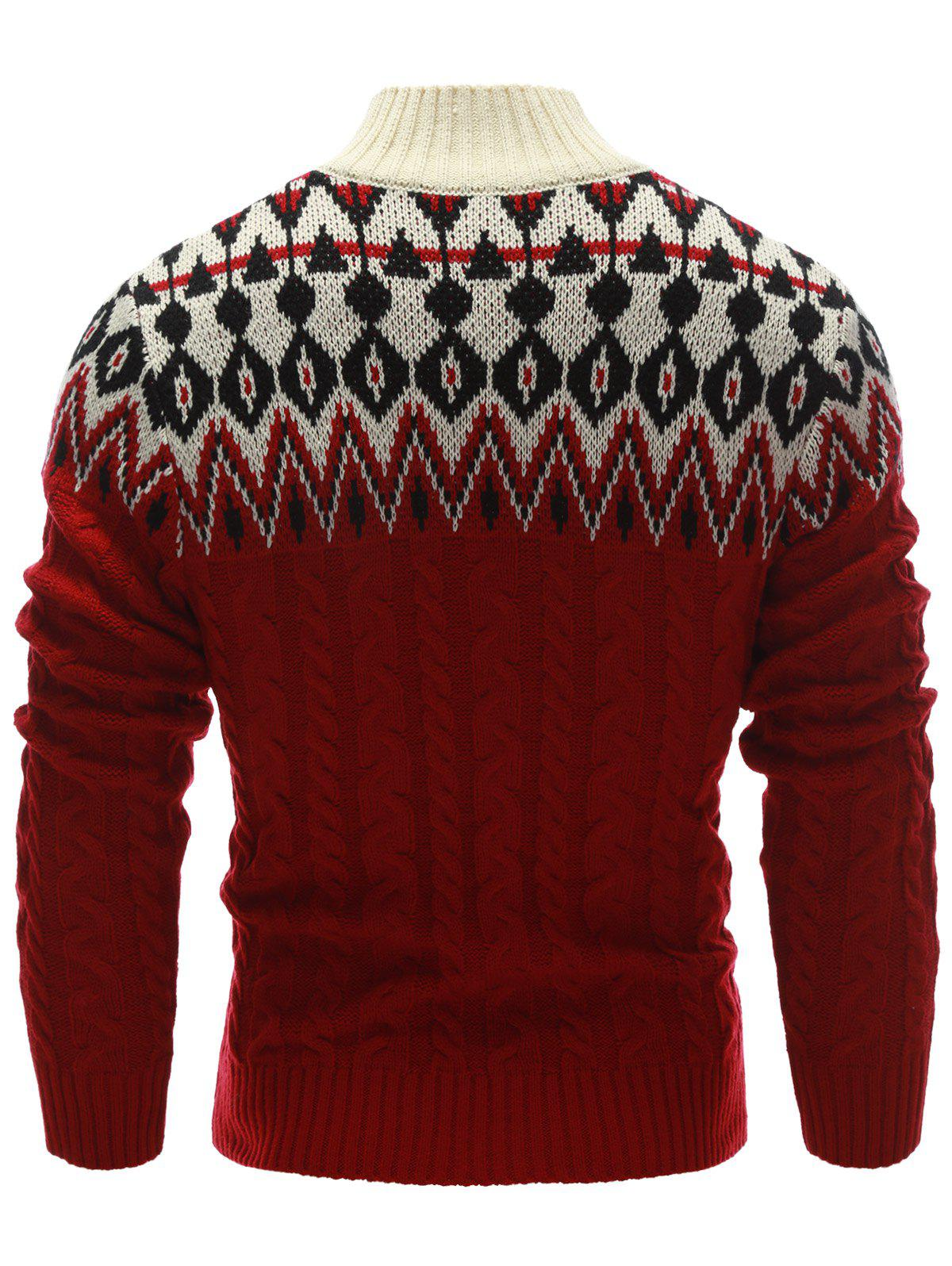 2018 Button Up Zigzag Pattern Cable Knit Sweater RED XL In ...