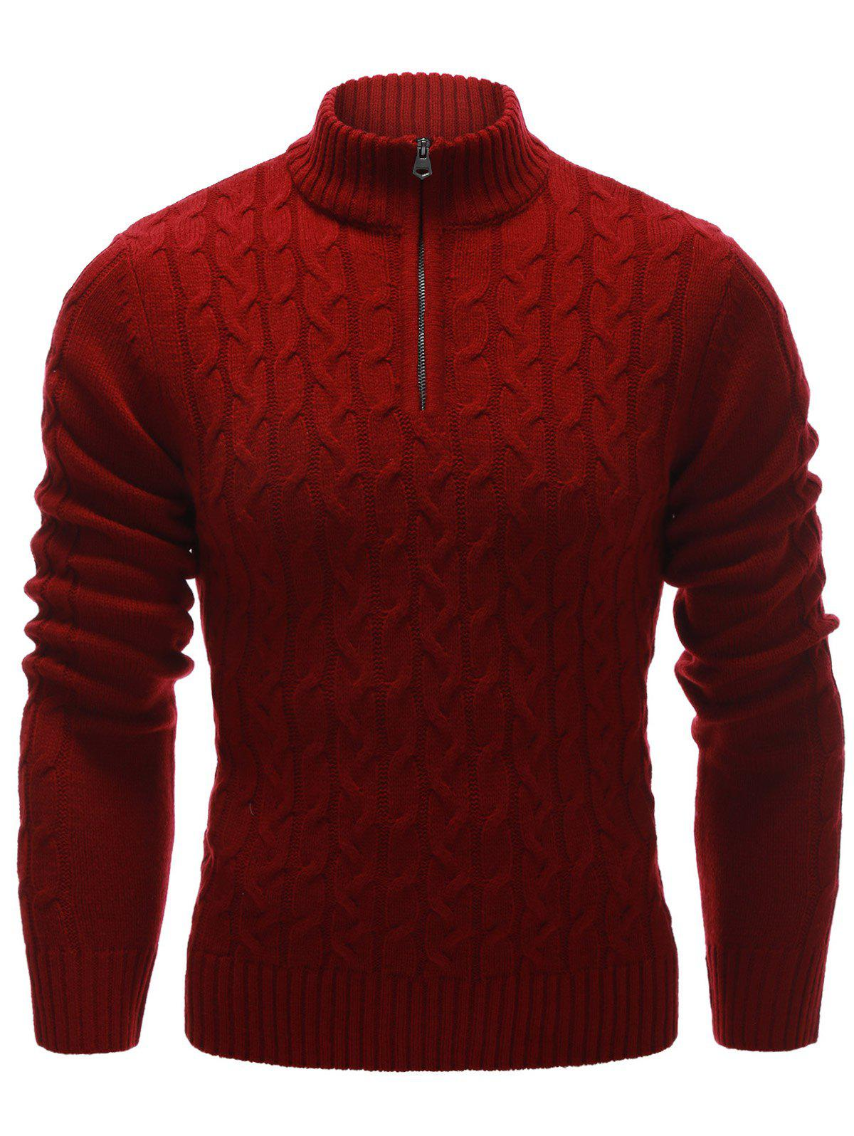 Cable Knit Half Zip Up Pullover Sweater lace insert pullover cable knit sweater