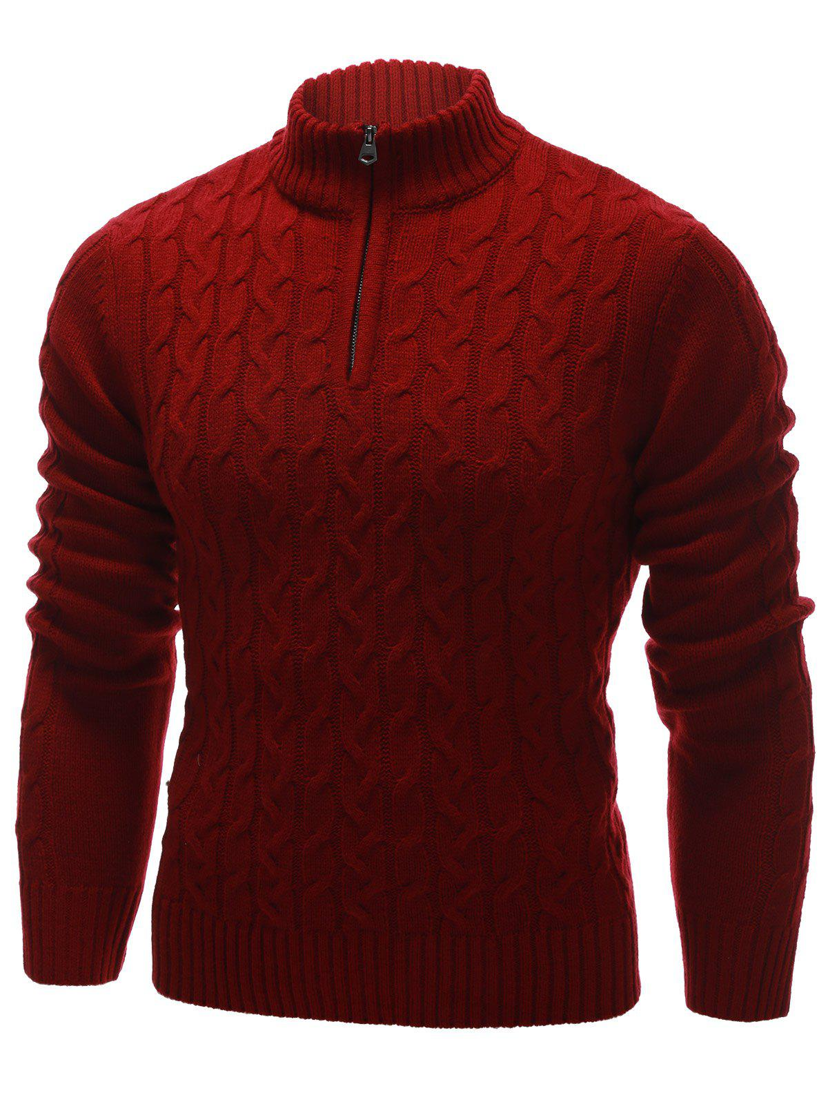2018 Cable Knit Half Zip Up Pullover Sweater RED XL In Cardigans ...